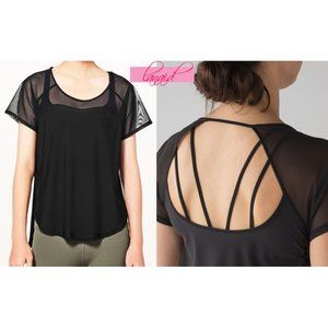 Lulu Anew Tee Mesh Cut-Outs Open Back Cutouts Top